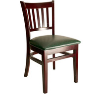 BFM Seating Delran Mahogany Wood Slat Back Restaurant Chair [WC102MHV]