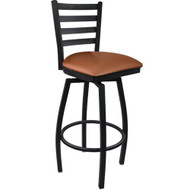 Advantage Ladder Back Metal Swivel Bar Stool - Mocha Padded [SBLB-BFMV]