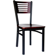 BFM Seating Espy Black Metal Slotted Wood Back Restaurant Chair - Wood Seat [2151C-SBW]