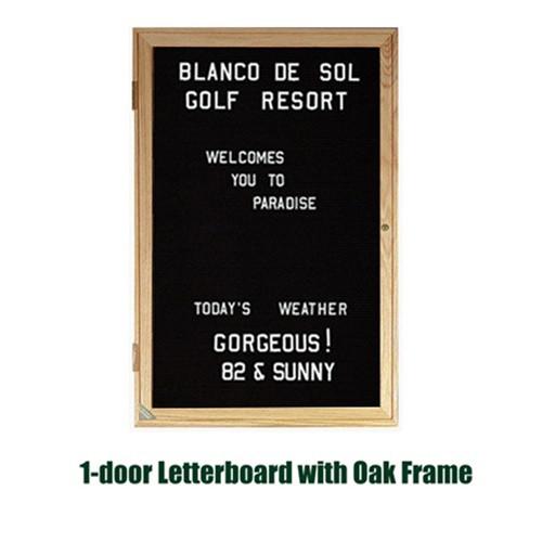Ghent 24x18-inch Enclosed Black Letterboard [PW12418B-BK] | Oak ...