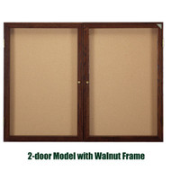 Ghent 36x48-inch Enclosed Cork Bulletin Board - Walnut Frame [PN23648K]