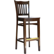 BFM Seating Princeton Walnut School Back Restaurant Bar Stool [WB7218WAWAW]