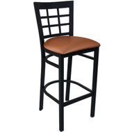 Advantage Window Pane Back Metal Bar Stool - Mocha Padded [BSWPB-BFMV]