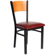 BFM Seating Dale Black Metal Solid Wood Back Restaurant Chair [2150C-SBV]