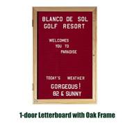 Ghent 36x24-inch Enclosed Burgundy Letter Board - Oak Frame [PW13624B-BG]