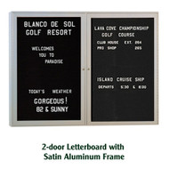 Ghent 48x60-inch Enclosed Black Letter Board - Satin Aluminum Frame [PA24860B-BK]