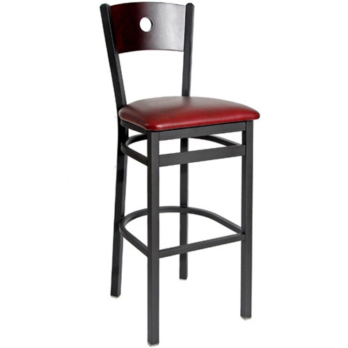 Bfm Seating Darby Black Metal Circle Wood Back Restaurant