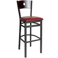 BFM Seating Darby Black Metal Circle Wood Back Restaurant Bar Stools [2152B-SBV]