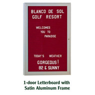 Ghent 24x18-inch Enclosed Burgundy Letter Board - Satin Aluminum Frame [PA12418B-BG]