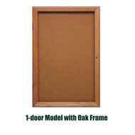 Ghent 24x18-inch Enclosed Cork Bulletin Board - Oak Frame [PW12418K]