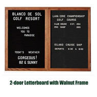 Ghent 36x60-inch Enclosed Black Letter Board - Walnut Frame [PN23660B-BK]