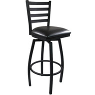 Advantage Ladder Back Metal Swivel Bar Stool - Black Padded [SBLB-BFBV]