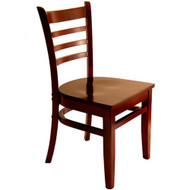 BFM Seating Burlington Mahogany Wood Ladder Back Restaurant Chair [WC101MHMHW]