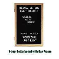 Ghent 36x36-inch Enclosed Black Letter Board - Oak Frame [PW13636B-BK]