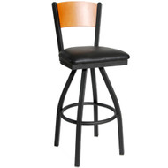 BFM Seating Dale Metal Solid Wood Back Restaurant Swivel Bar Stools [2150S-SBV]