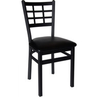 BFM Seating Marietta Black Metal Window Pane Back Restaurant Chair [2163C-SBV]