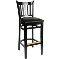 BFM Seating Delran Black Wood Slat Back Restaurant Bar Stool [WB102BLV]