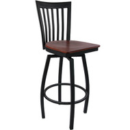 Advantage Vertical Slat Back Metal Swivel Bar Stool - Mahogany Wood Seat [SBVB-BFMW]