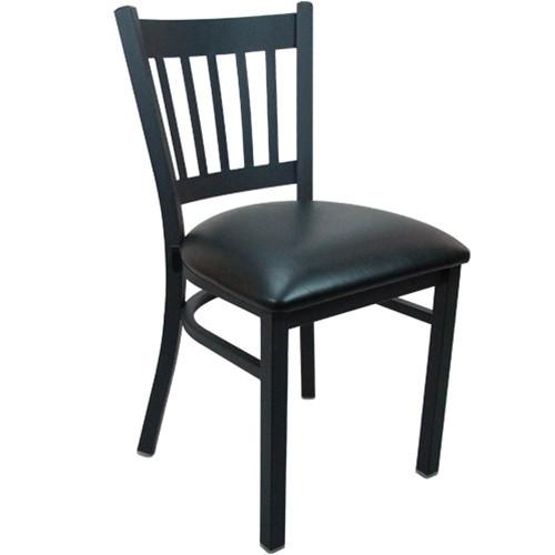 Slat Back Chairs advantage black metal vertical slat back restaurant chair - rcvb