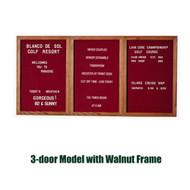 Ghent 48x72-inch Enclosed Burgundy Letter Board - Walnut Frame [PN34872B-BG]