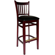 BFM Seating Delran Mahogany Wood Slat Back Restaurant Bar Stool [WB102MHV]