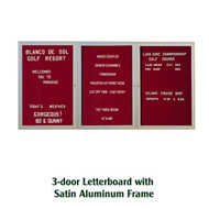Ghent 36x72-inch Enclosed Burgundy Letter Board - Satin Aluminum Frame [PA33672B-BG]