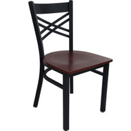 Advantage Black Metal Cross Back Chair - Mahogany Wood Seat [RCXB-BFMW]