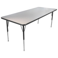 Advantage 30 in. x 60 in. Rectangular Adjustable Activity Table - Grey/Black [AT3060-GB]