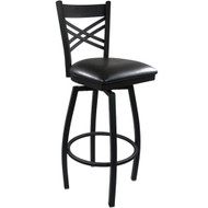 Advantage Cross Back Metal Swivel Bar Stool - Black Padded [SBXB-BFBV]