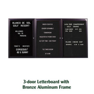 Ghent 48x96-inch Enclosed Black Letter Board - Bronze Aluminum Frame [PB34896B-BK]