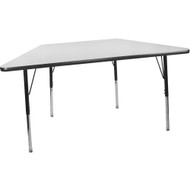 Advantage 30 in. x 60 in. Trapezoidal Adjustable Activity Table - Grey/Black [AT3060TRAP-GB]