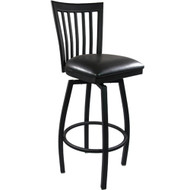 Advantage Vertical Slat Back Metal Swivel Bar Stool - Black Padded [SBVB-BFBV]