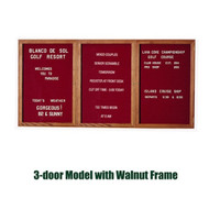 Ghent 36x72-inch Enclosed Burgundy Letter Board - Walnut Frame [PN33672B-BG]