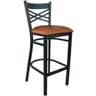 Advantage Cross Back Metal Bar Stool - Mocha Padded [BSXB-BFMV]