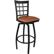 Advantage Window Pane Back Metal Swivel Bar Stool - Mocha Padded [SBWPB-BFMV]