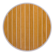 "BFM Seating Longport 24"" Round Synthetic Teak Restaurant Table Top [PH24RTKU]"