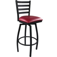 Advantage Ladder Back Metal Swivel Bar Stool - Burgundy Padded [SBLB-BFRV]