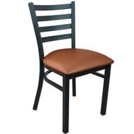 Advantage Black Metal Ladder Back Chair   Mocha Padded [RCLB BFMV]