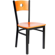 BFM Seating Darby Black Metal Circle Wood Back Restaurant Chair [2152C-SBW]