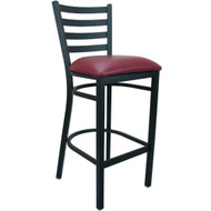 Advantage Ladder Back Metal Bar Stool - Burgundy Padded [BSLB-BFRV]