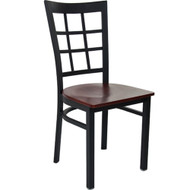 Advantage Black Metal Window Pane Back Chair - Mahogany Wood Seat [RCWPB-BFMW]