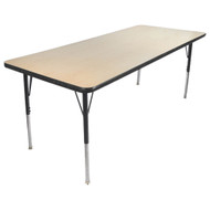 Advantage 30 in. x 60 in. Rectangular Adjustable Activity Table - Maple/Black [AT3060-MB]
