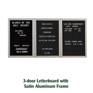Ghent 36x72-inch Enclosed Black Letter Board - Satin Aluminum Frame [PA33672B-BK]
