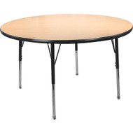 Advantage 48 in. Round Adjustable Activity Table - Maple/Black [AT48R-MB]