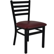 BFM Seating Lima Black Metal Ladder Back Restaurant Chair [2160C-SBV]