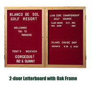 Ghent 36x60-inch Enclosed Burgundy Letter Board - Oak Frame [PW23660B-BG]
