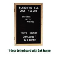 Ghent 36x30-inch Enclosed Black Letter Board - Oak Frame [PW13630B-BK]