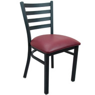Advantage Black Metal Ladder Back Chair - Burgundy Padded [RCLB-BFRV]