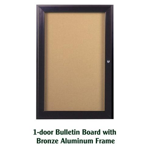 Ghent 24x18-inch Enclosed Cork Bulletin Board - Bronze Frame ...