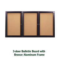 Ghent 36x72-inch Enclosed Cork Bulletin Board - Bronze Aluminum Frame [PB33672K]